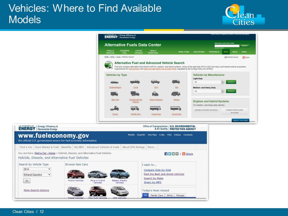 Clean Cities / 12 Vehicles: Where to Find Available Models