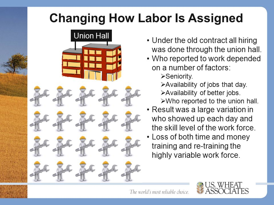 Changing How Labor Is Assigned Union Hall Under the old contract all hiring was done through the union hall.