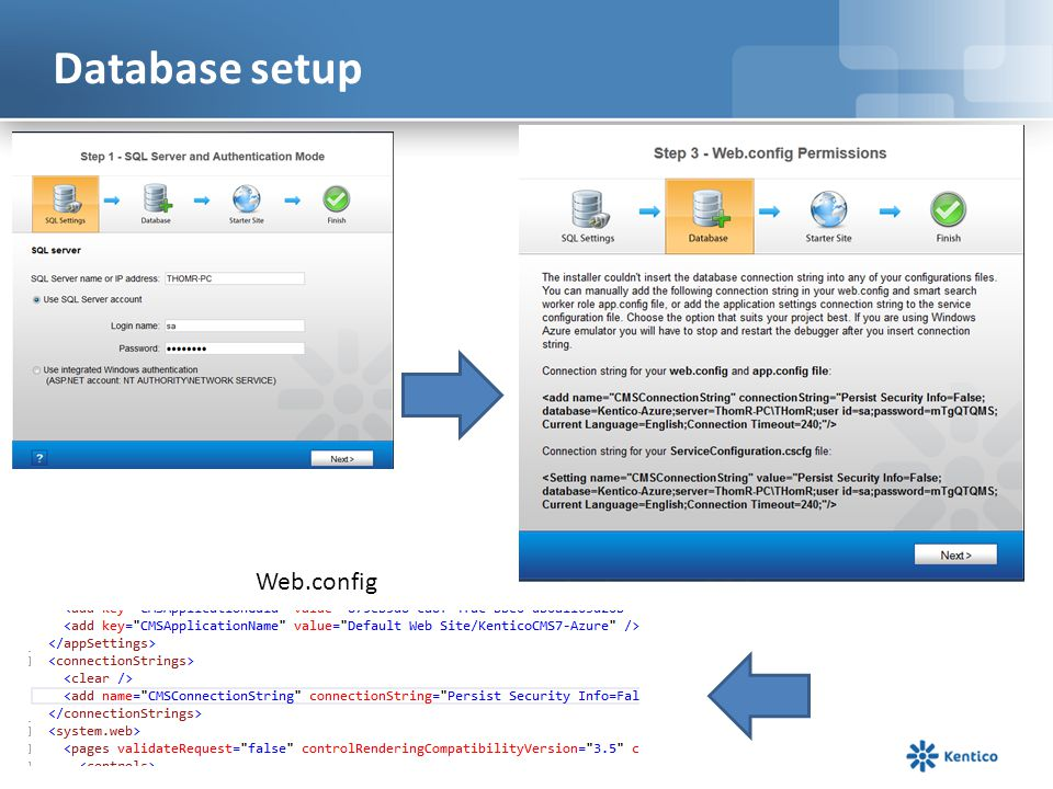 Database setup Web.config
