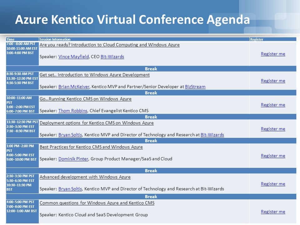 Agenda Understand the local Azure and Kentico CMS development environment Install Kentico CMS on your development machine (Windows Azure project) Look at the Azure Emulator Get going quickly with Kentico+