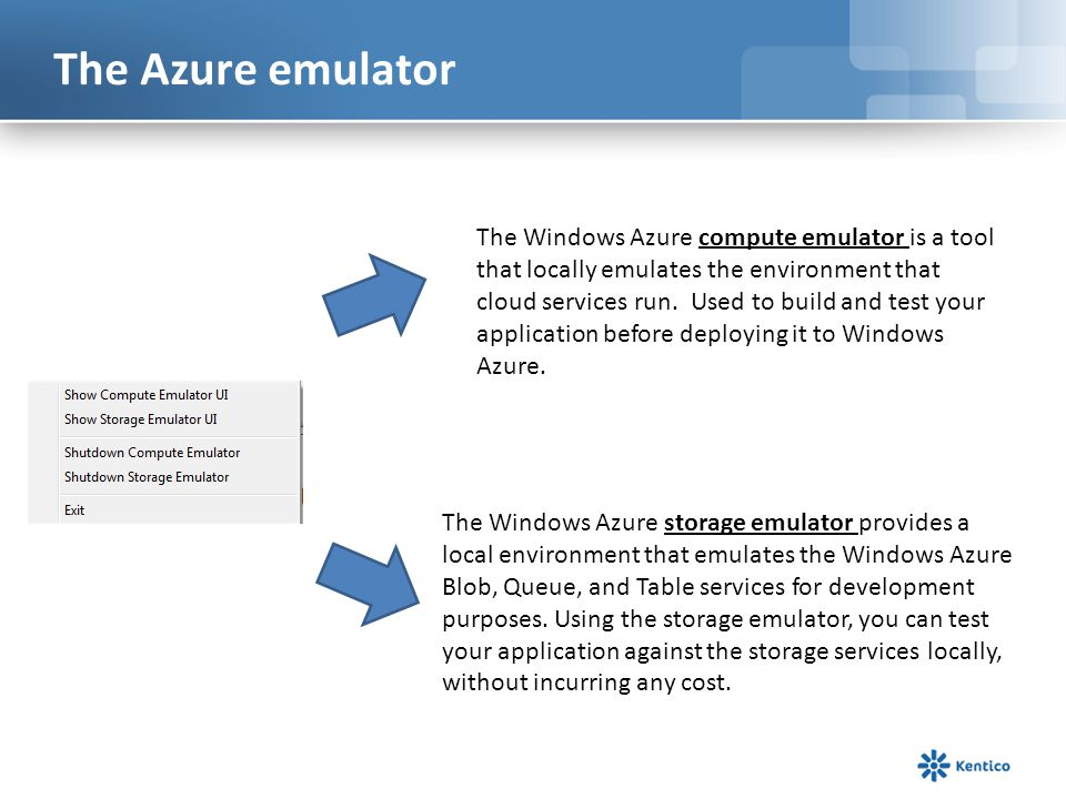 The Azure emulator The Windows Azure compute emulator is a tool that locally emulates the environment that cloud services run.