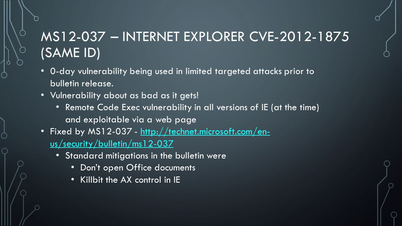 MS12-037 – INTERNET EXPLORER CVE-2012-1875 (SAME ID) 0-day vulnerability being used in limited targeted attacks prior to bulletin release.
