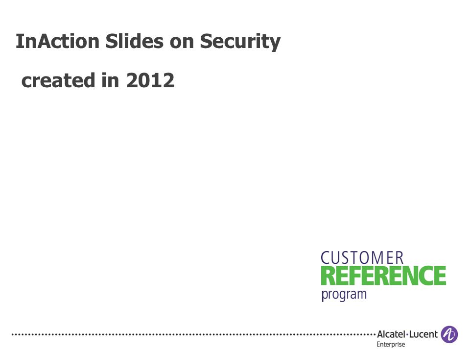 InAction Slides on Security created in 2012