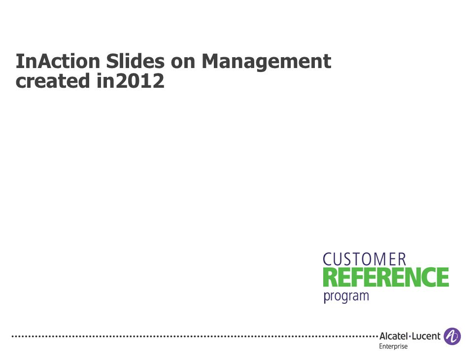 InAction Slides on Management created in2012