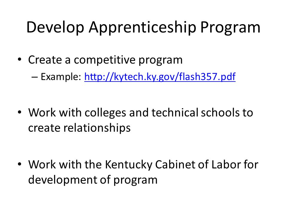 Develop Apprenticeship Program Create a competitive program – Example: http://kytech.ky.gov/flash357.pdfhttp://kytech.ky.gov/flash357.pdf Work with colleges and technical schools to create relationships Work with the Kentucky Cabinet of Labor for development of program
