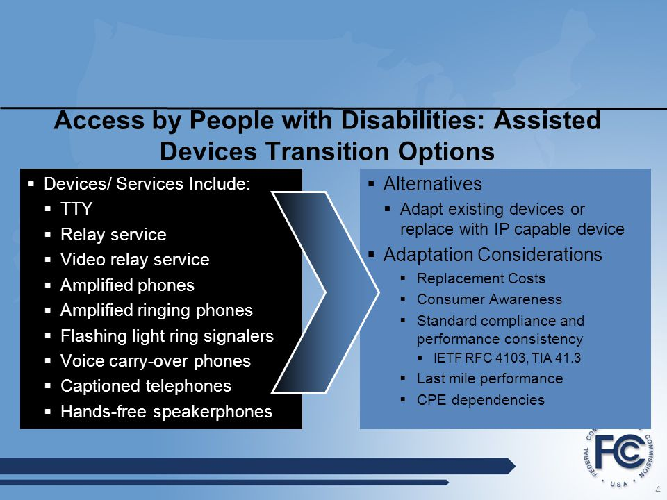 Access by People with Disabilities: Assisted Devices Transition Options  Devices/ Services Include:  TTY  Relay service  Video relay service  Amp