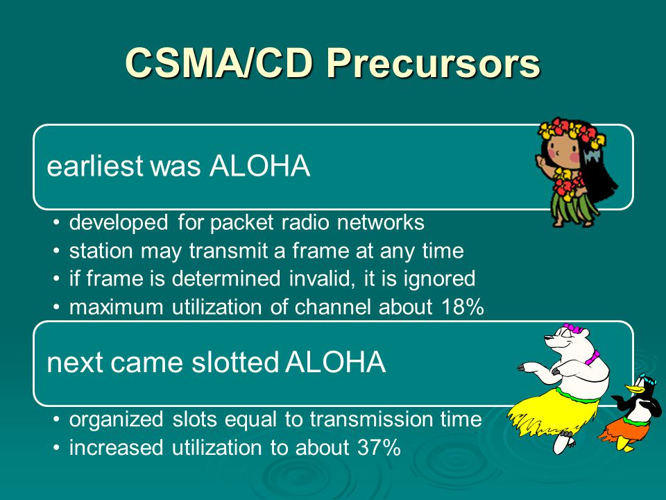 CSMA/CD Precursors earliest was ALOHA developed for packet radio networks station may transmit a frame at any time if frame is determined invalid, it is ignored maximum utilization of channel about 18% next came slotted ALOHA organized slots equal to transmission time increased utilization to about 37%