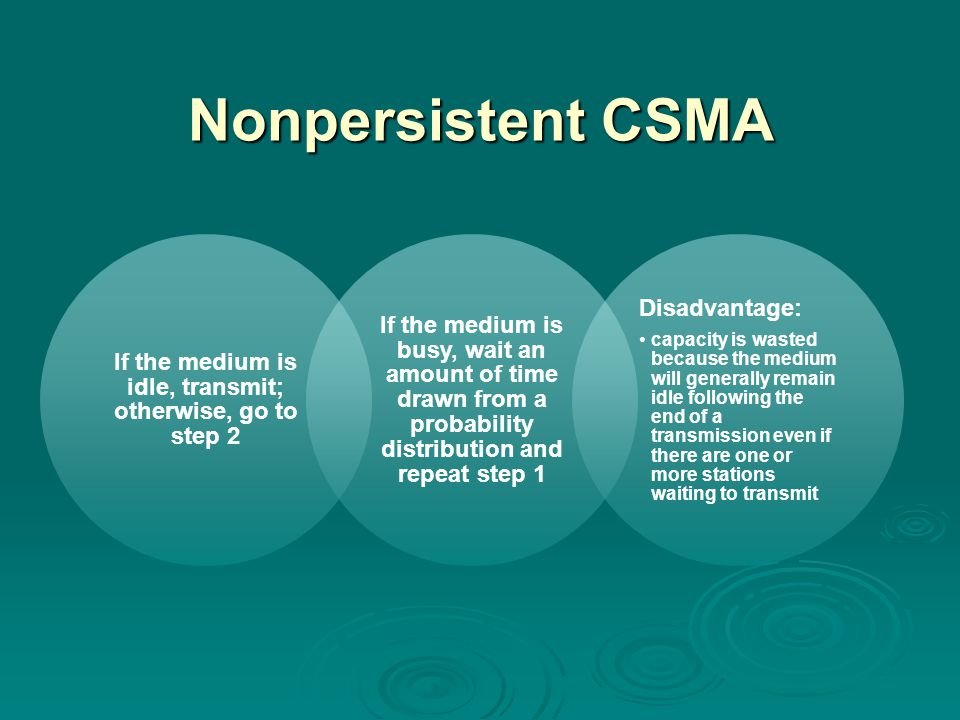 Nonpersistent CSMA If the medium is idle, transmit; otherwise, go to step 2 If the medium is busy, wait an amount of time drawn from a probability distribution and repeat step 1 Disadvantage: capacity is wasted because the medium will generally remain idle following the end of a transmission even if there are one or more stations waiting to transmit