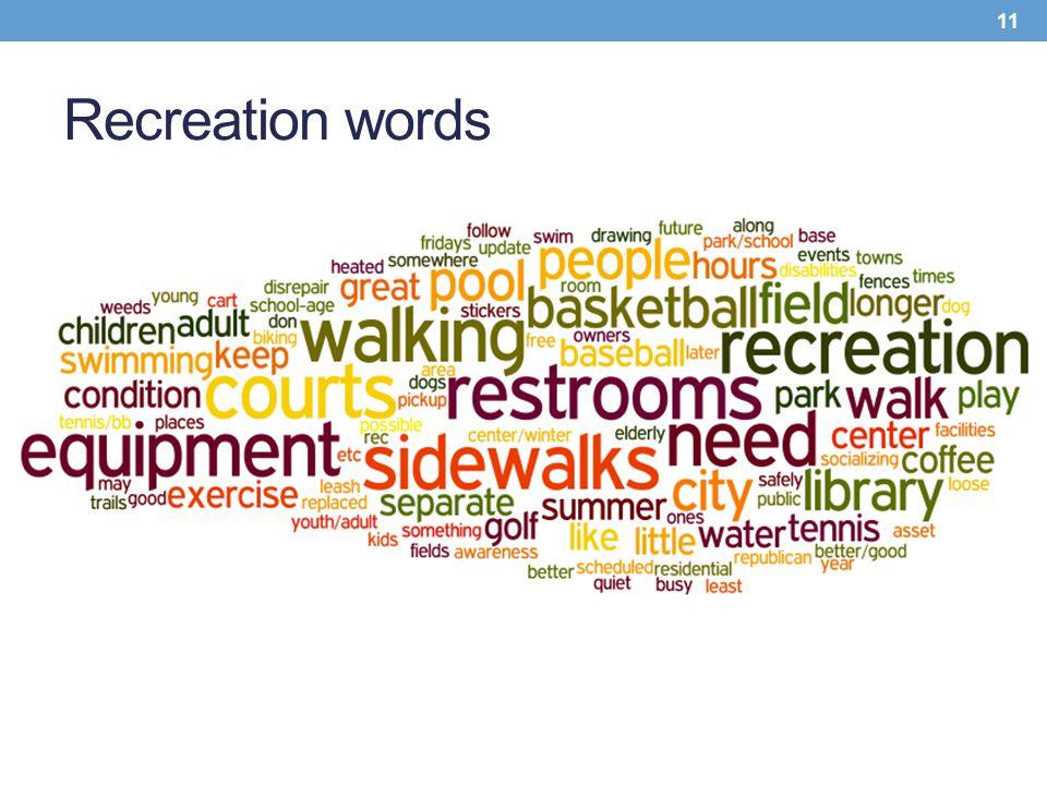 Recreation words 11