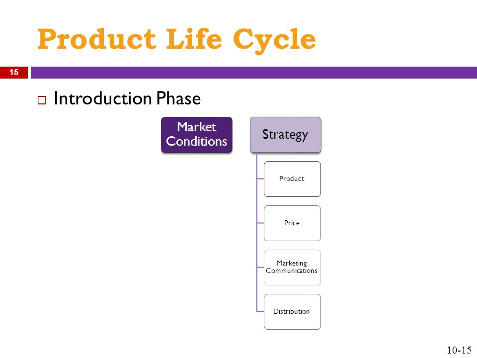 Product Life Cycle  Introduction Phase Market Conditions Strategy ProductPrice Marketing Communications Distribution 10-15 15