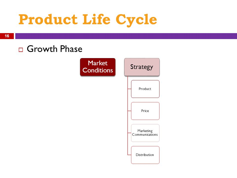 Product Life Cycle  Growth Phase Market Conditions Strategy ProductPrice Marketing Communications Distribution 16