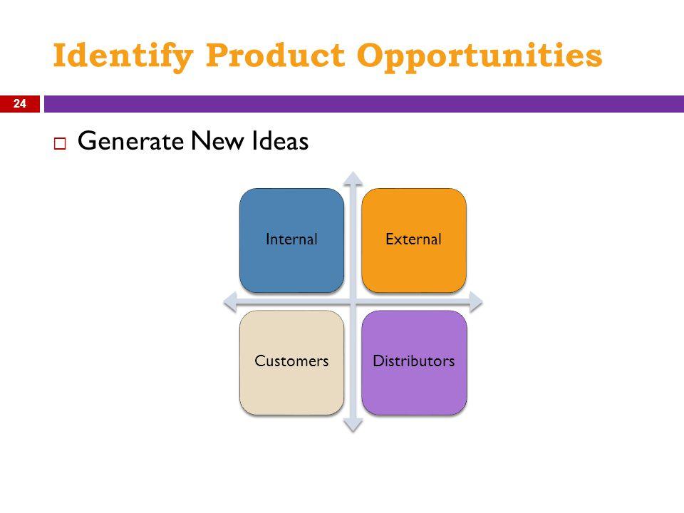 Identify Product Opportunities 24  Generate New Ideas InternalExternal CustomersDistributors