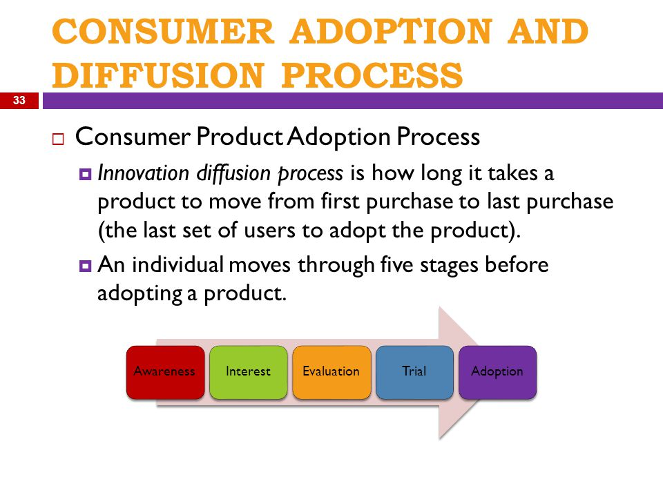 CONSUMER ADOPTION AND DIFFUSION PROCESS  Consumer Product Adoption Process  Innovation diffusion process is how long it takes a product to move from