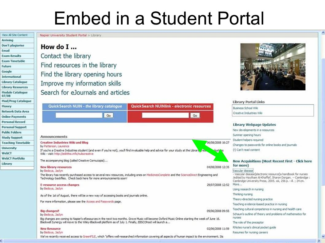 16 Embed in a Student Portal
