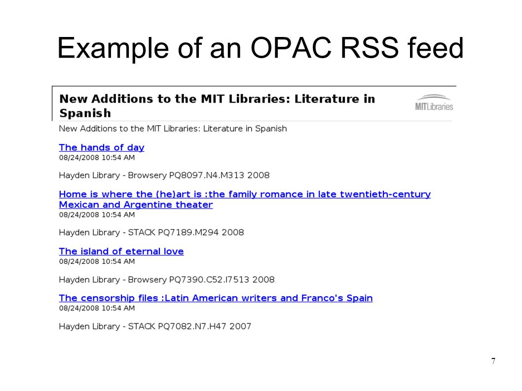 7 Example of an OPAC RSS feed