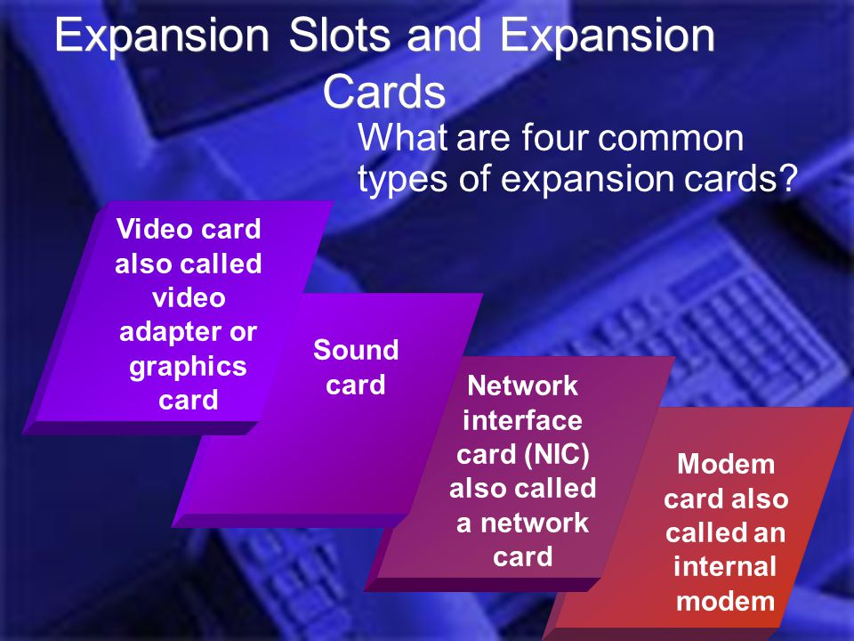 Introduction Computer Hardware Jess Role @UEAB 2006 Modem card also called an internal modem Expansion Slots and Expansion Cards What are four common types of expansion cards.