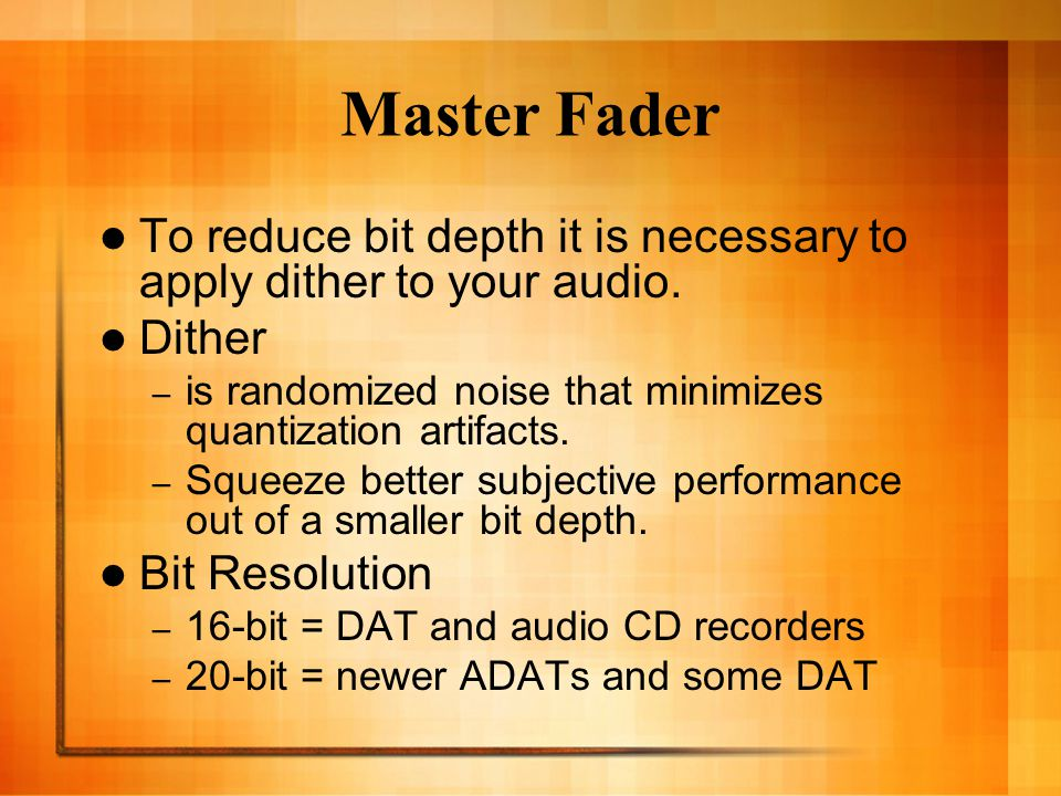 Noise Shaping Improves audio performance and lessens the perceptible noise inherent in dithering by shifting noise components into a less audible range.