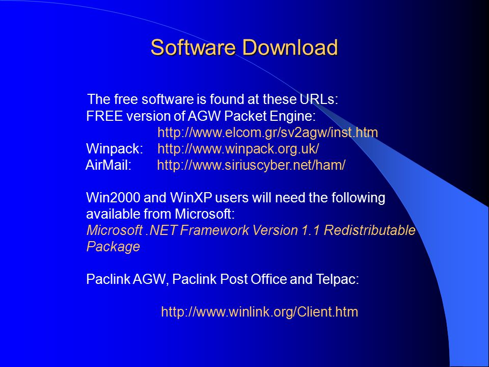 The free software is found at these URLs: FREE version of AGW Packet Engine: http://www.elcom.gr/sv2agw/inst.htm Winpack: http://www.winpack.org.uk/ AirMail: http://www.siriuscyber.net/ham/ Win2000 and WinXP users will need the following available from Microsoft: Microsoft.NET Framework Version 1.1 Redistributable Package Paclink AGW, Paclink Post Office and Telpac: http://www.winlink.org/Client.htm Software Download