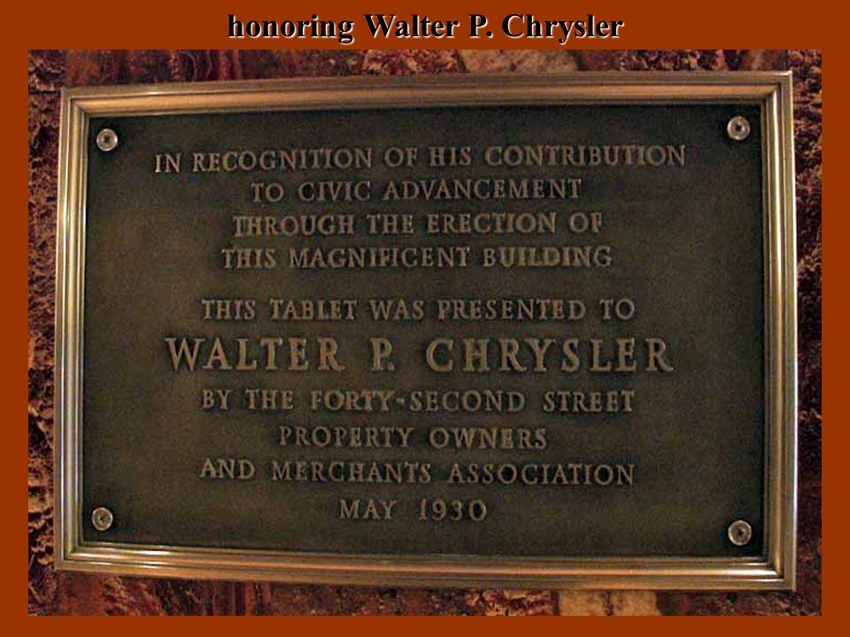 honoring Walter P. Chrysler