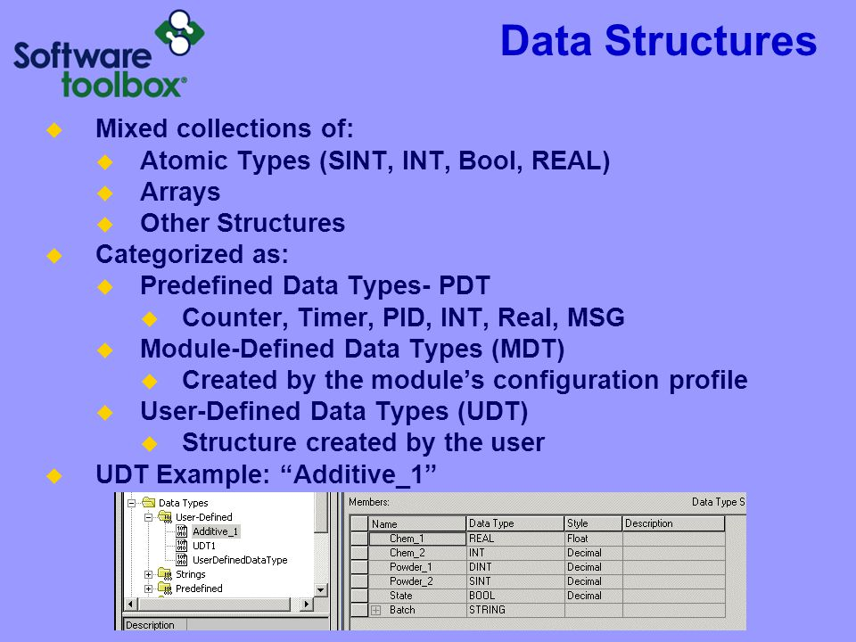 Data Structures  Mixed collections of:  Atomic Types (SINT, INT, Bool, REAL)  Arrays  Other Structures  Categorized as:  Predefined Data Types- PDT  Counter, Timer, PID, INT, Real, MSG  Module-Defined Data Types (MDT)  Created by the module's configuration profile  User-Defined Data Types (UDT)  Structure created by the user  UDT Example: Additive_1