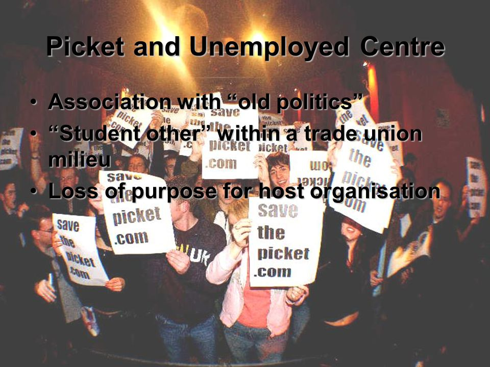 Picket and Unemployed Centre Association with old politics Association with old politics Student other within a trade union milieu Student other within a trade union milieu Loss of purpose for host organisationLoss of purpose for host organisation