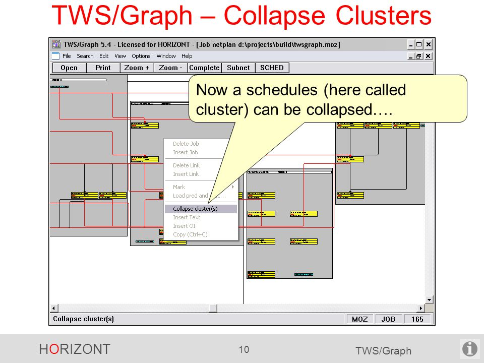 HORIZONT 10 TWS/Graph TWS/Graph – Collapse Clusters Now a schedules (here called cluster) can be collapsed….