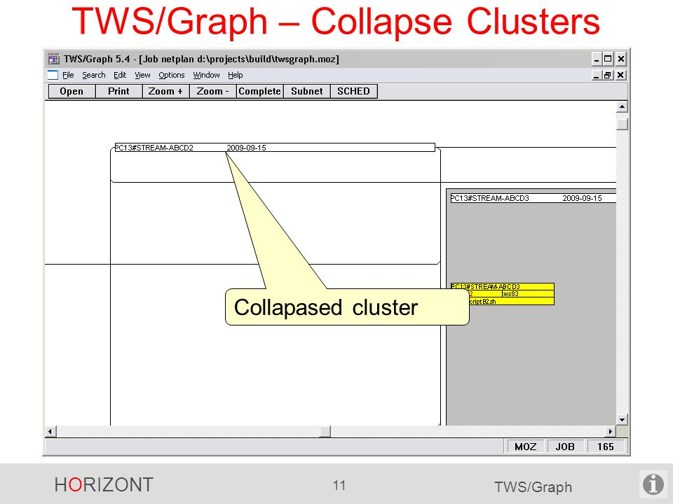 HORIZONT 11 TWS/Graph TWS/Graph – Collapse Clusters Collapased cluster