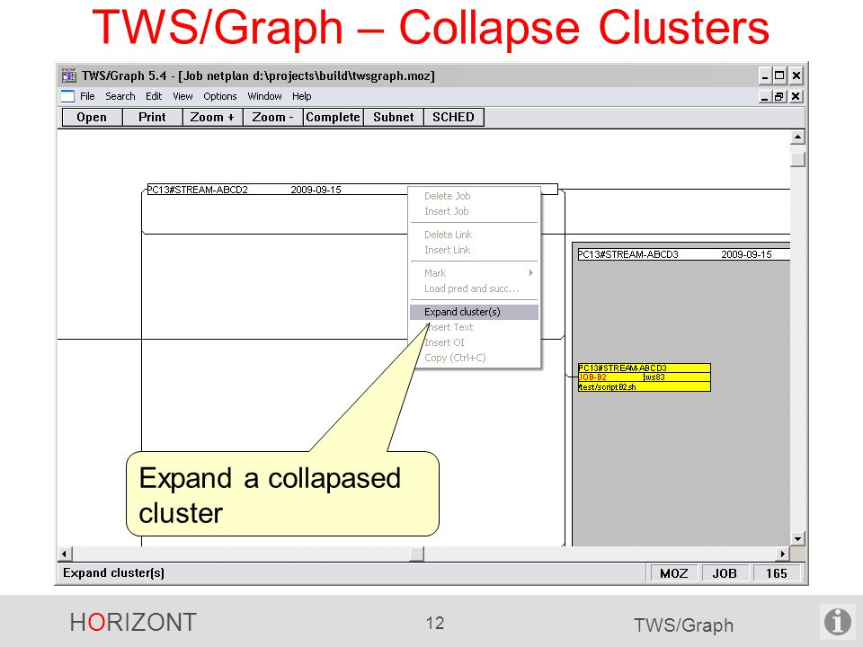 HORIZONT 12 TWS/Graph TWS/Graph – Collapse Clusters Expand a collapased cluster