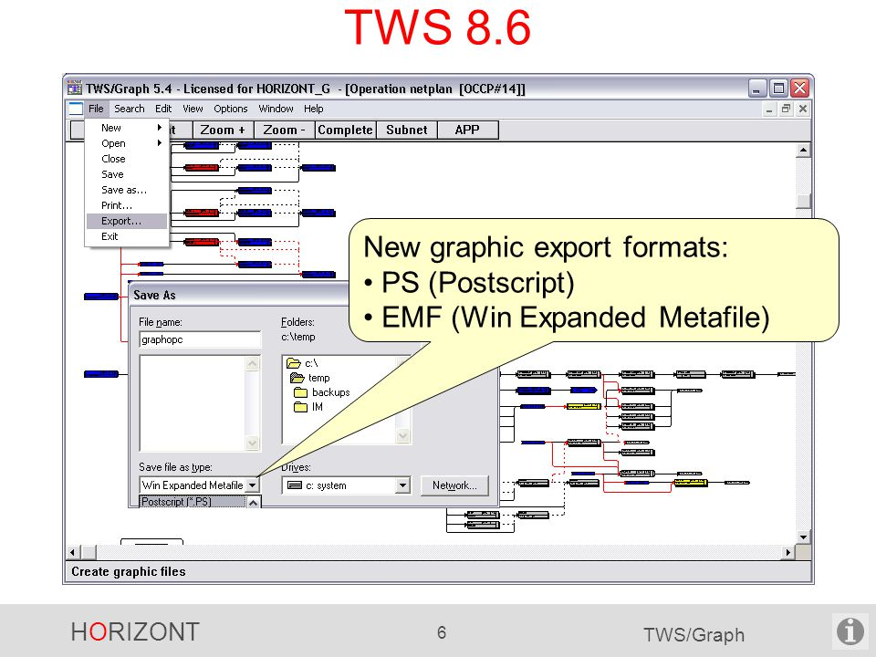 HORIZONT 6 TWS/Graph TWS 8.6 New graphic export formats: PS (Postscript) EMF (Win Expanded Metafile)