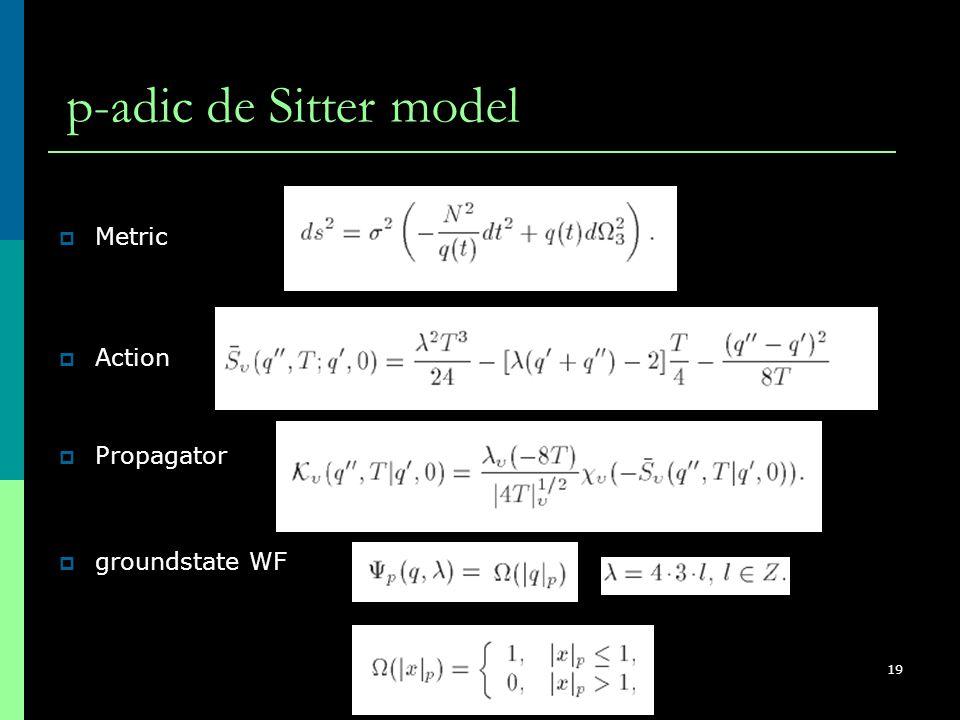 ISC2008, Nis, Serbia, August 26 - 31, 2008 19 p-adic de Sitter model  groundstate WF  Metric  Action  Propagator