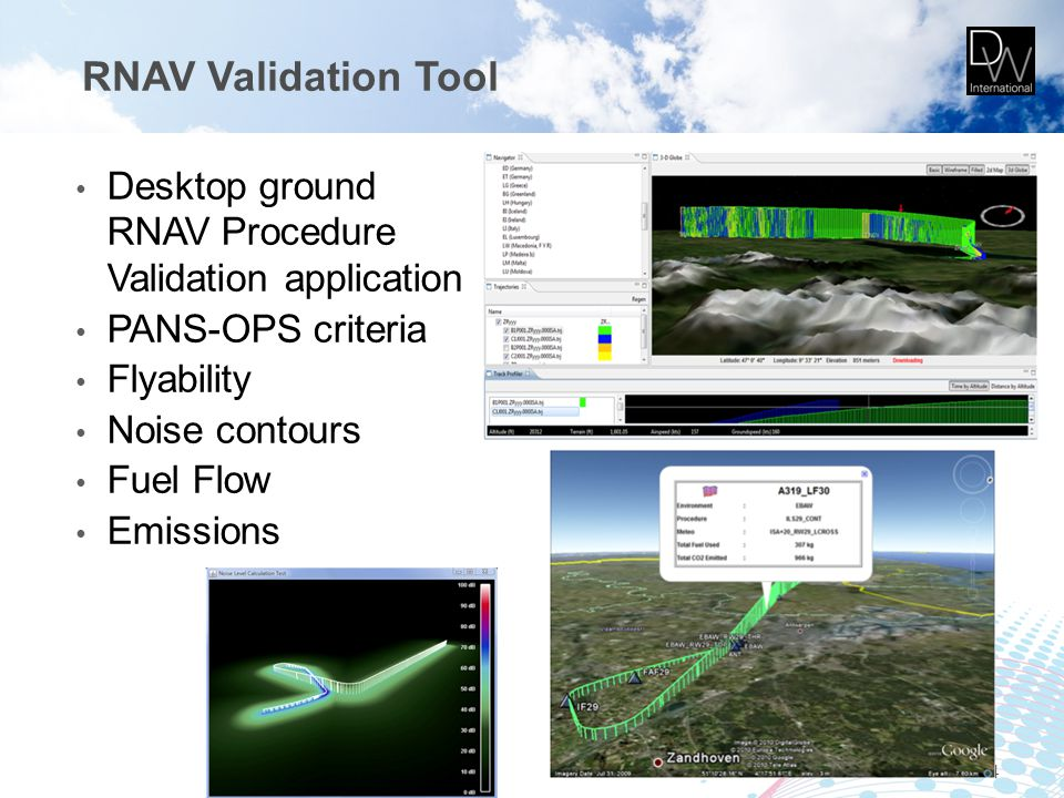 RNAV Validation Tool Desktop ground RNAV Procedure Validation application PANS-OPS criteria Flyability Noise contours Fuel Flow Emissions 34