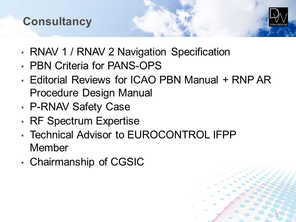 Consultancy RNAV 1 / RNAV 2 Navigation Specification PBN Criteria for PANS-OPS Editorial Reviews for ICAO PBN Manual + RNP AR Procedure Design Manual P-RNAV Safety Case RF Spectrum Expertise Technical Advisor to EUROCONTROL IFPP Member Chairmanship of CGSIC 5