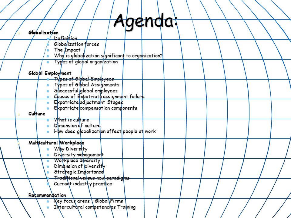 Agenda: Globalization Globalization Definition Definition Globalization forces Globalization forces The Impact The Impact Why is globalization significant to organization.