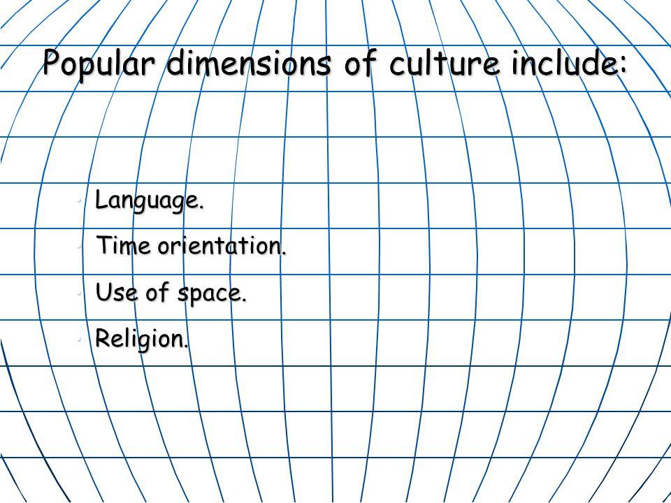 Popular dimensions of culture include: Language.Language.