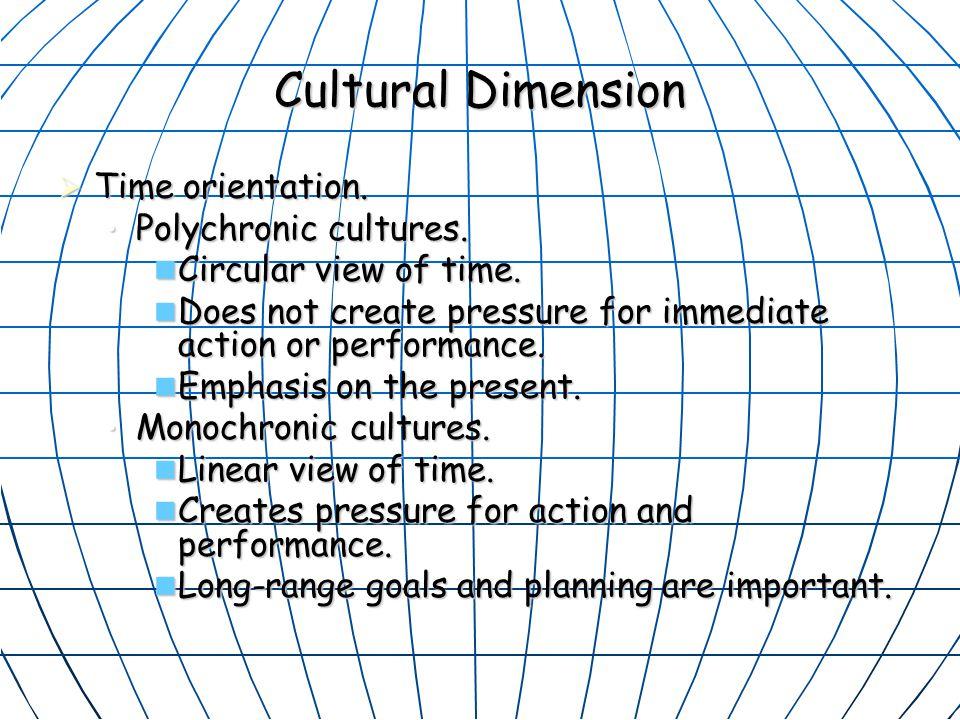 Cultural Dimension  Time orientation.Polychronic cultures.