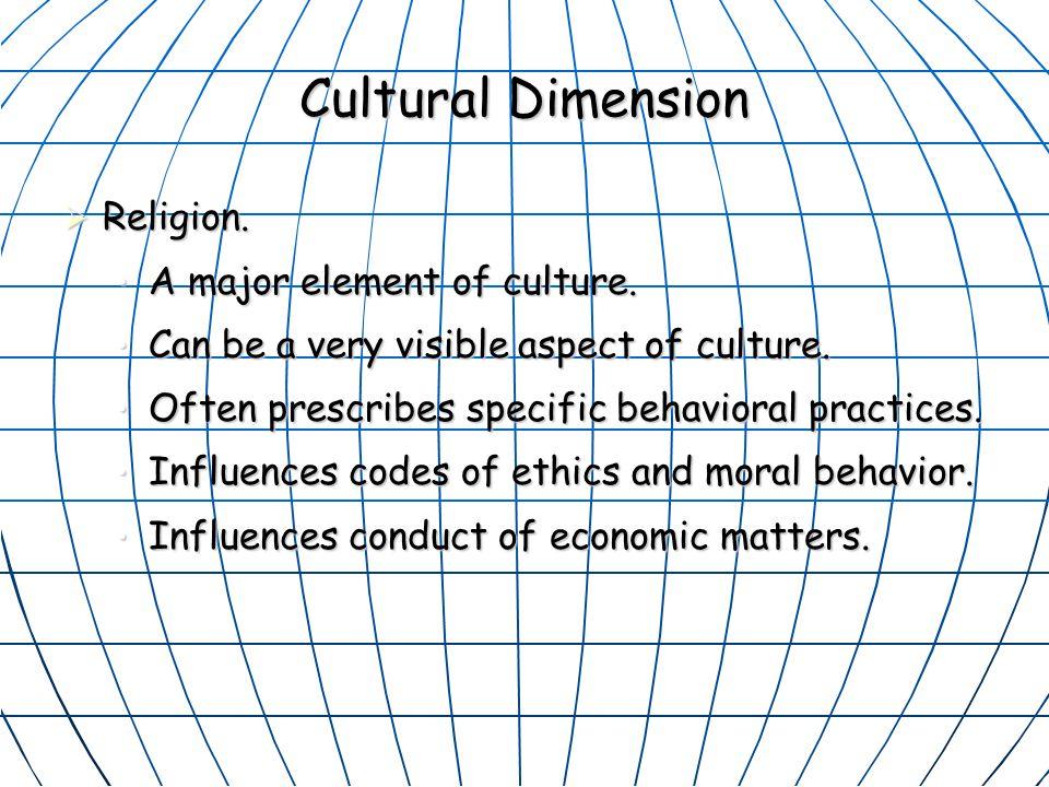 Cultural Dimension  Religion.A major element of culture.