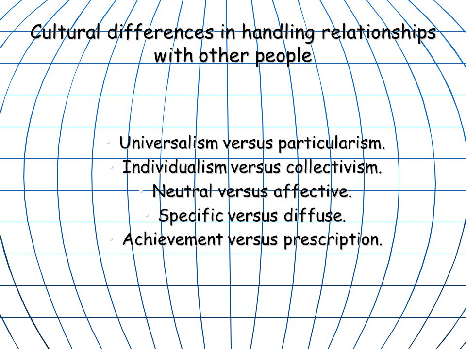 Cultural differences in handling relationships with other people Universalism versus particularism.Universalism versus particularism.