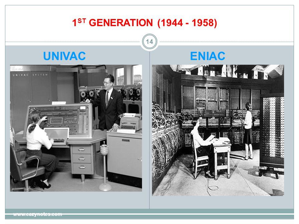 14 UNIVACENIAC 1 ST GENERATION (1944 - 1958) www.eazynotes.com