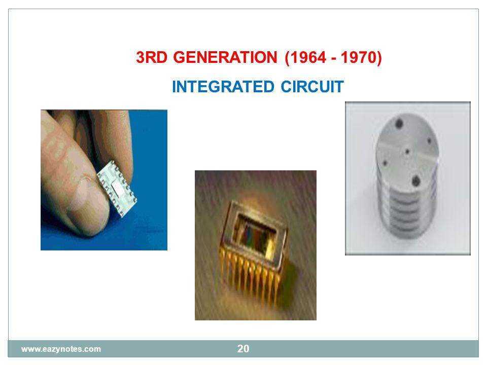 20 3RD GENERATION (1964 - 1970) INTEGRATED CIRCUIT www.eazynotes.com