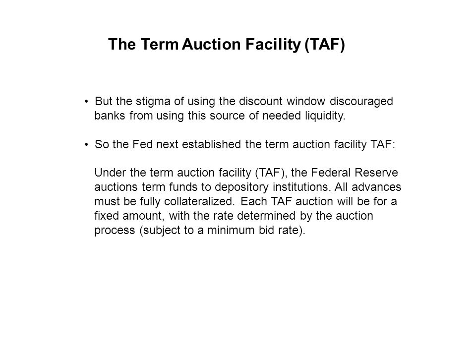 But the stigma of using the discount window discouraged banks from using this source of needed liquidity. So the Fed next established the term auction