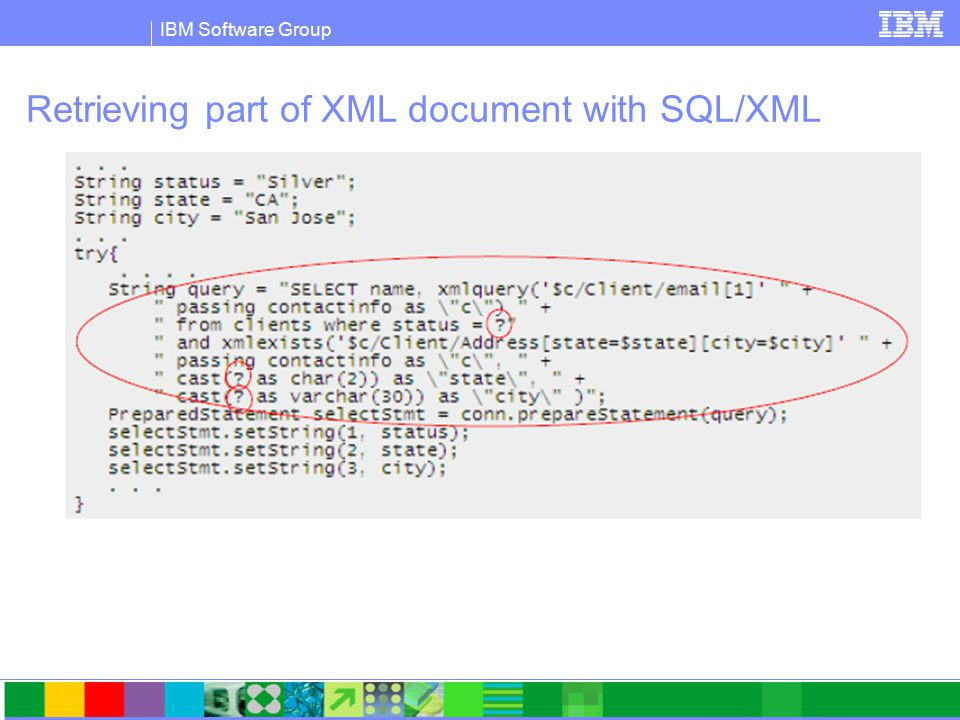 IBM Software Group Retrieving part of XML document with SQL/XML