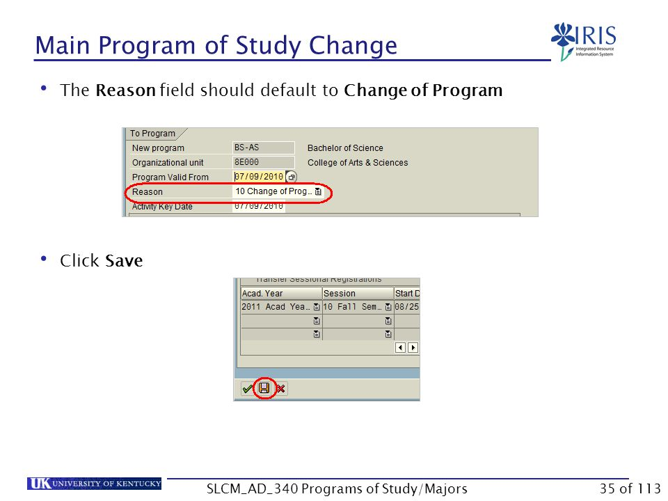 Effective Dates for Change UK policy states that Program fees will be refunded in full to students who change their program and/or major on or before the census date (last day to add a class) of the semester. not does will be assessed  If a student moves from a program or major that does not assess a fee into a program or major that does assess a fee and the effective start date is on or before the last day to add a class, the student will be assessed the program/major fee.