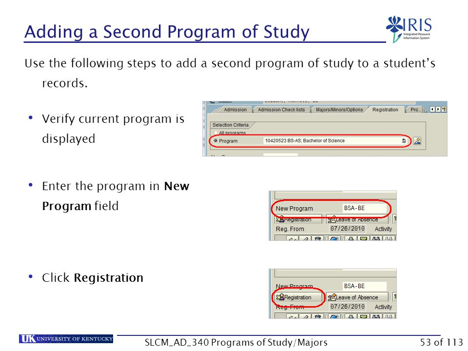 Changing Layouts You can change your column layout on the Registration tab to show Program Priority.