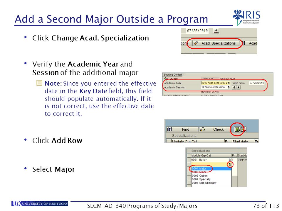 Use the following steps to add a second major outside of the current program of study.