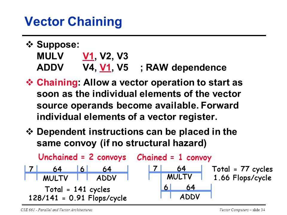 CSE 661 - Parallel and Vector ArchitecturesVector Computers – slide 34  Suppose: MULVV1, V2, V3 ADDVV4, V1, V5; RAW dependence  Chaining: Allow a vector operation to start as soon as the individual elements of the vector source operands become available.