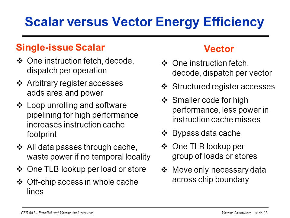 CSE 661 - Parallel and Vector ArchitecturesVector Computers – slide 53 Vector  One instruction fetch, decode, dispatch per vector  Structured register accesses  Smaller code for high performance, less power in instruction cache misses  Bypass data cache  One TLB lookup per group of loads or stores  Move only necessary data across chip boundary Single-issue Scalar  One instruction fetch, decode, dispatch per operation  Arbitrary register accesses adds area and power  Loop unrolling and software pipelining for high performance increases instruction cache footprint  All data passes through cache, waste power if no temporal locality  One TLB lookup per load or store  Off-chip access in whole cache lines Scalar versus Vector Energy Efficiency