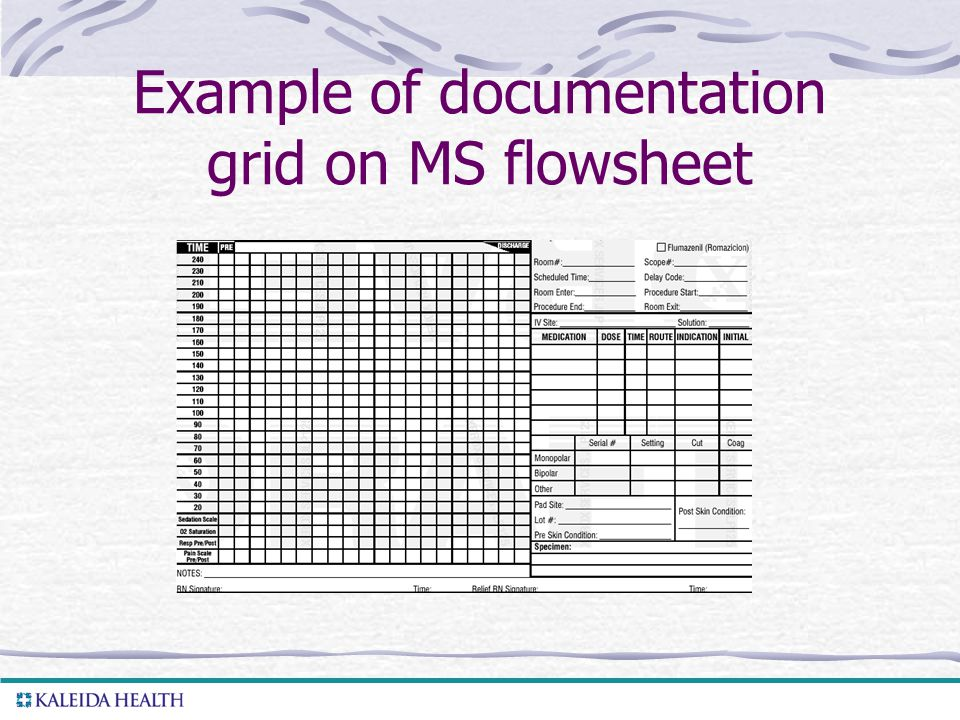 . Example of documentation grid on MS flowsheet
