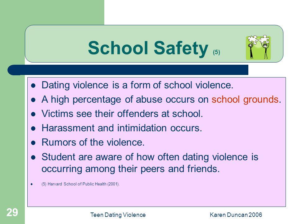 Teen Dating ViolenceKaren Duncan 2006 29 School Safety (5) Dating violence is a form of school violence.