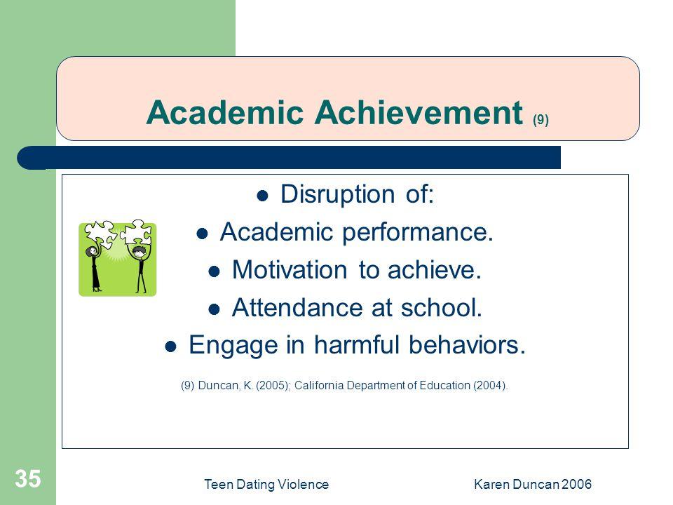 Teen Dating ViolenceKaren Duncan 2006 35 Academic Achievement (9) Disruption of: Academic performance.