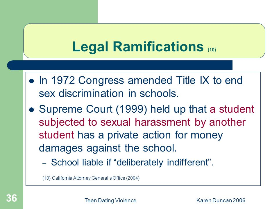 Teen Dating ViolenceKaren Duncan 2006 36 Legal Ramifications (10) In 1972 Congress amended Title IX to end sex discrimination in schools.